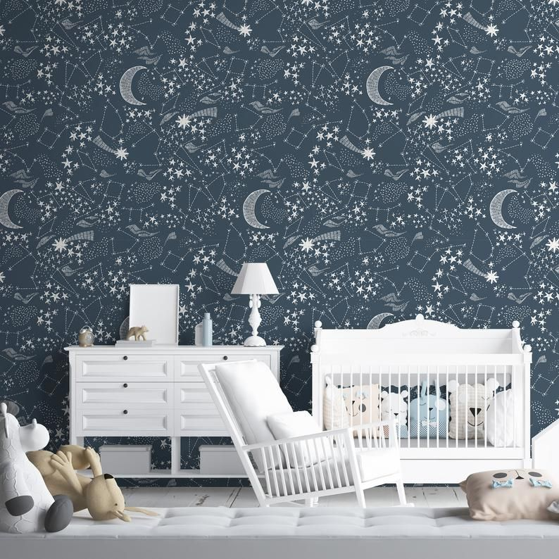 Constellation Removable Wallpaper Moon Self Adhesive Wall Etsy Removable Wallpaper Star Nursery Wall Murals