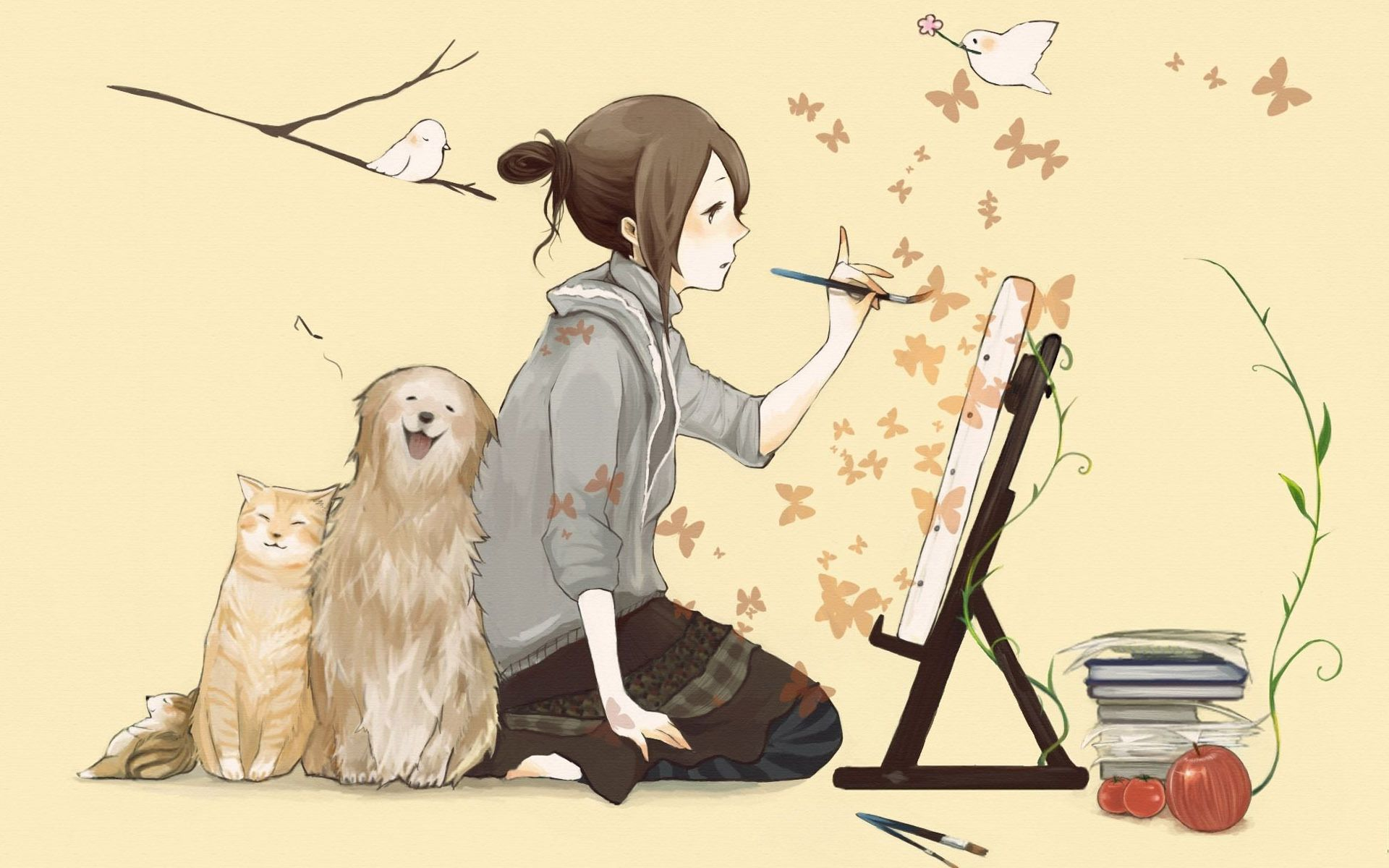 Pix For Gt Anime Girls Painting Anime Puppy Anime Anime Art