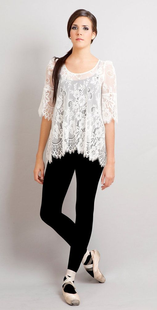 Black Swan french lace scalloped tunic off white