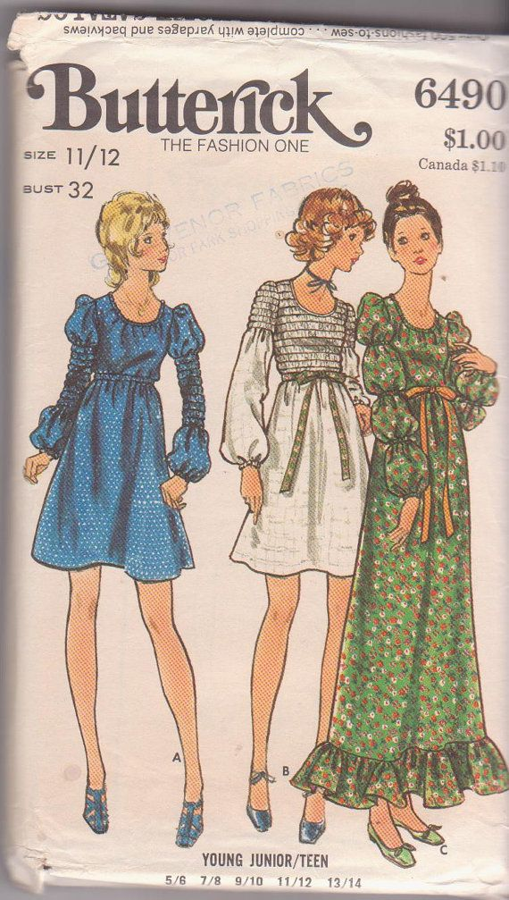 1960s vintage sewing pattern for Boho dress by beththebooklady ...