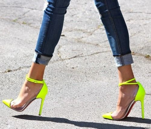 Denim & Neon Louboutins. Wow. I'm thinking these are definitely a head turner.