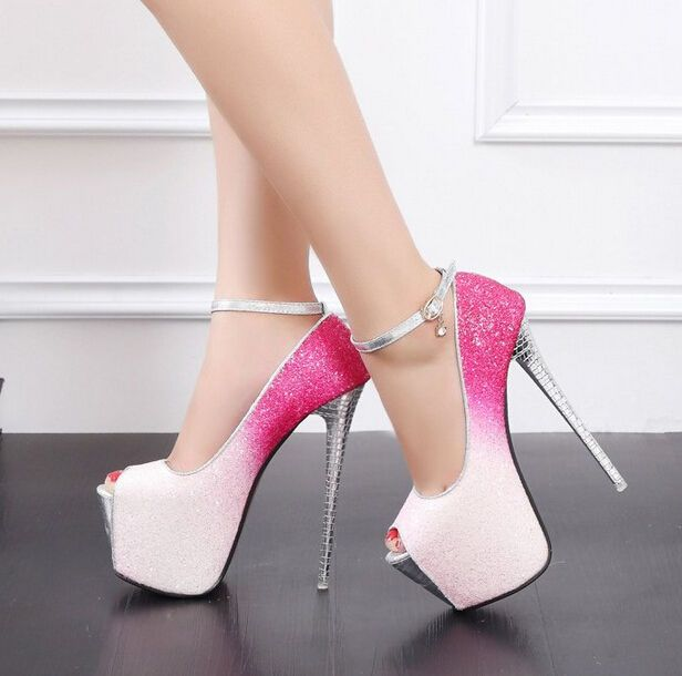 Photo of Womens Sexy Stiletto High Heels Peep Toe Pole Dancing Ankle Strap Platform Shoes