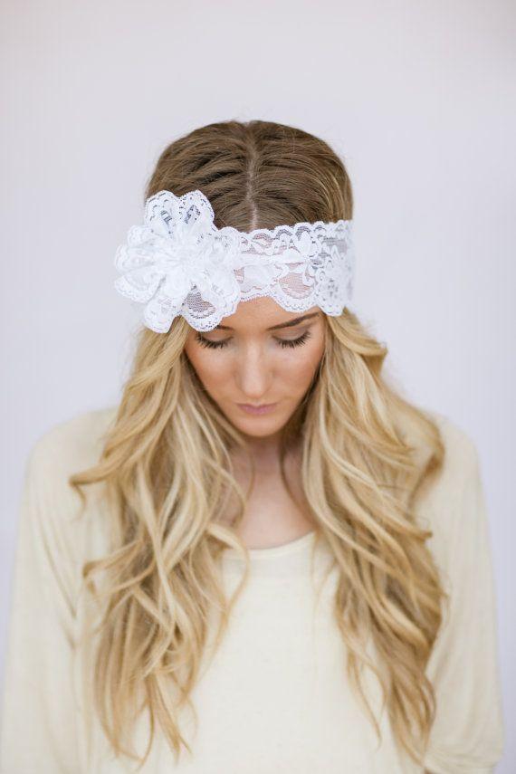 Se ora mi boda encaje diadema floral cabeza por - Diademas de encaje ...