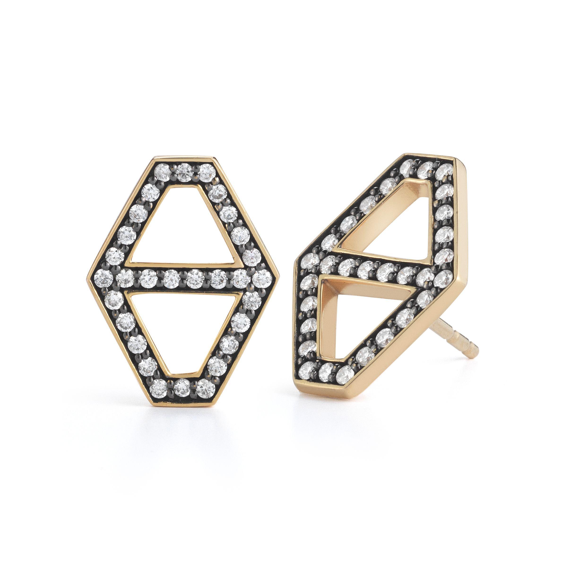 Walters Faith Keynes 18K Medium Signature Hexagon Diamond Stud Earrings Silver DaVYGcs