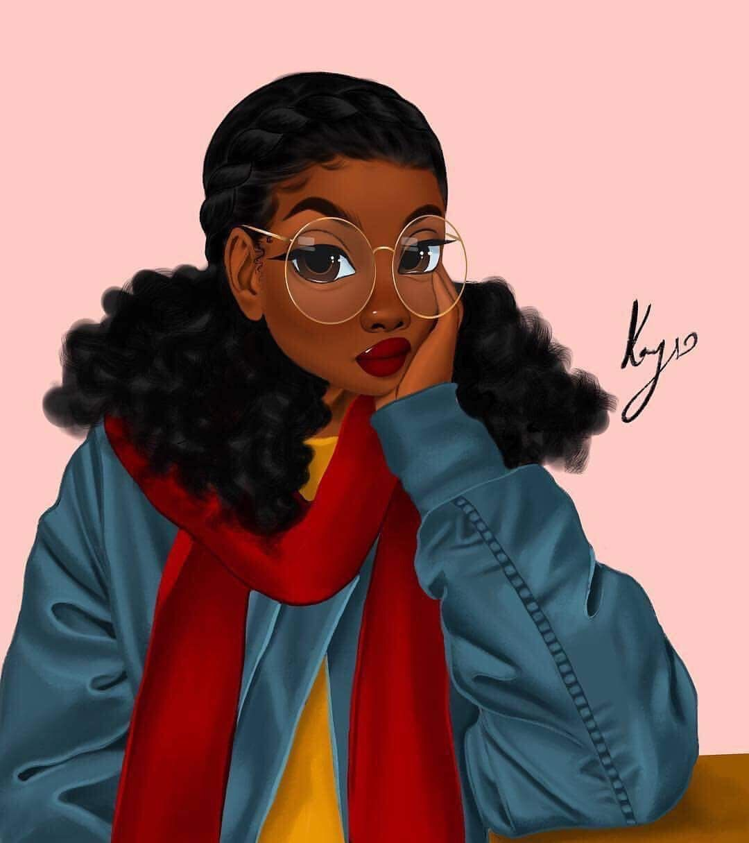 One Of Coolest Things About This Illustration Is Her Glasses And Scarf She Looks Like She Goes To Hogwarts Black Girl Cartoon Black Girl Art Black Love Art