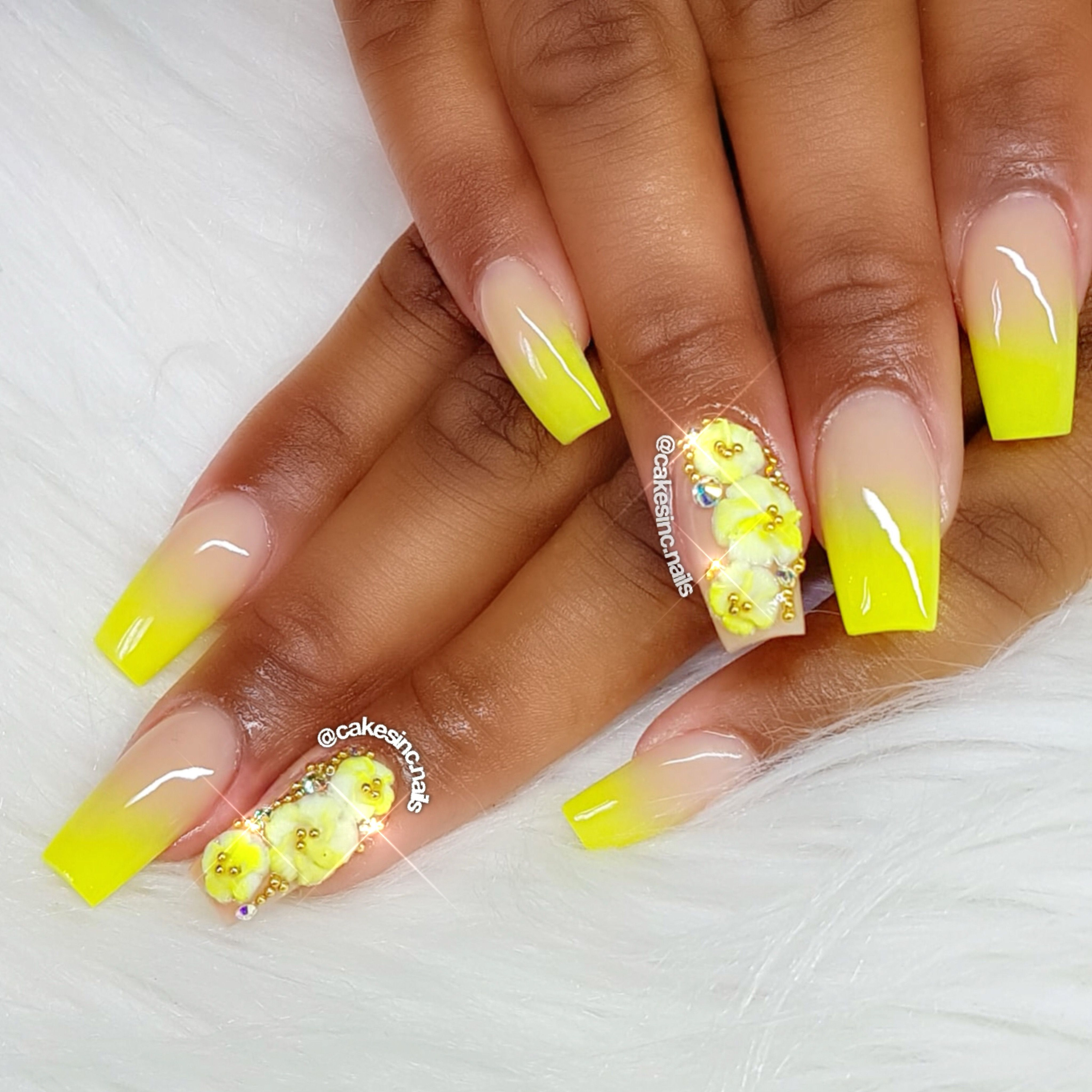 Neon Nails With 3d Nail Art With Images Yellow Nails Design