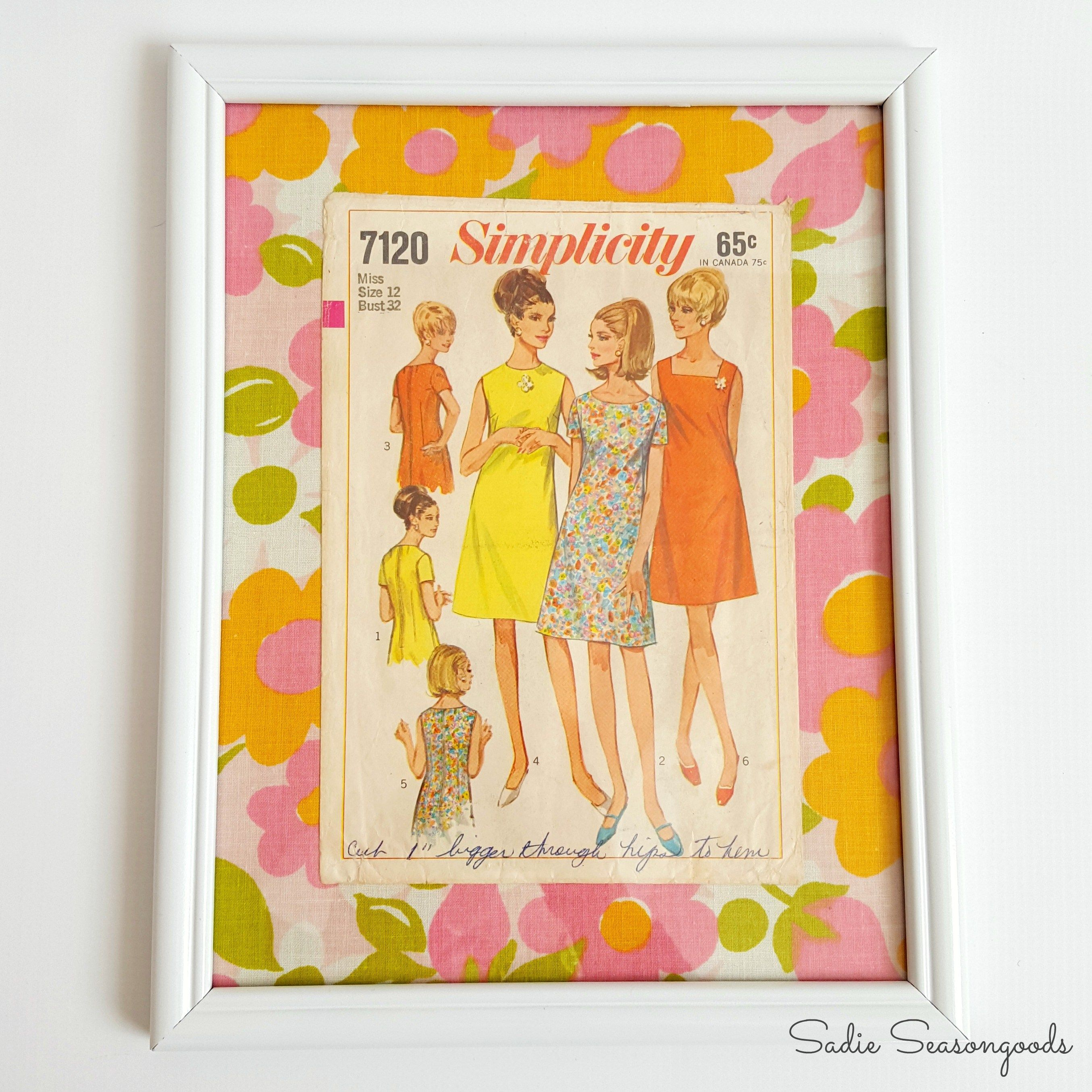 Upcycled vintage sewing patterns as fashion wall art / www ...