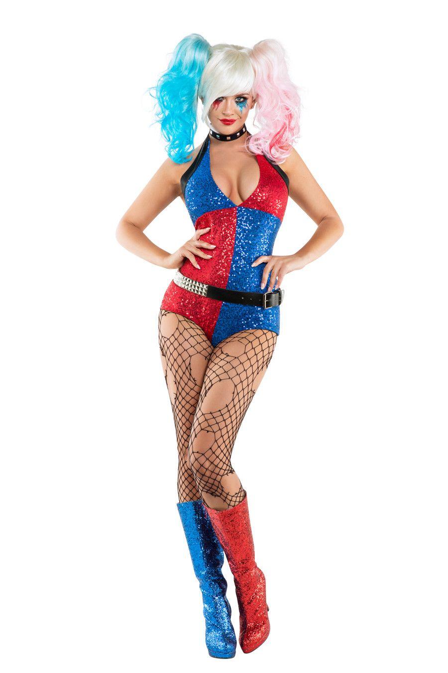 harley quinn costume from suicide squad sexy superhero villain woman costume joker halloween - Joker Halloween Costume For Females