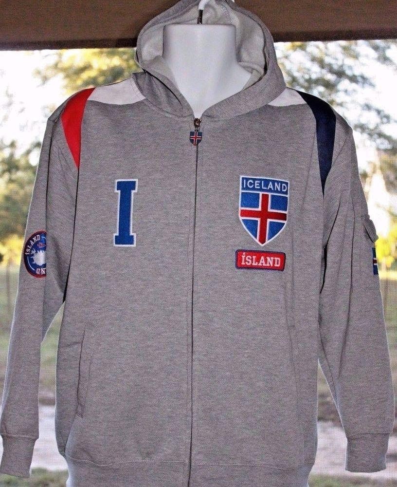 Drifa Original Design Men's Iceland Hoodie Sweatshirt Nordic Flag Small NWT  AR