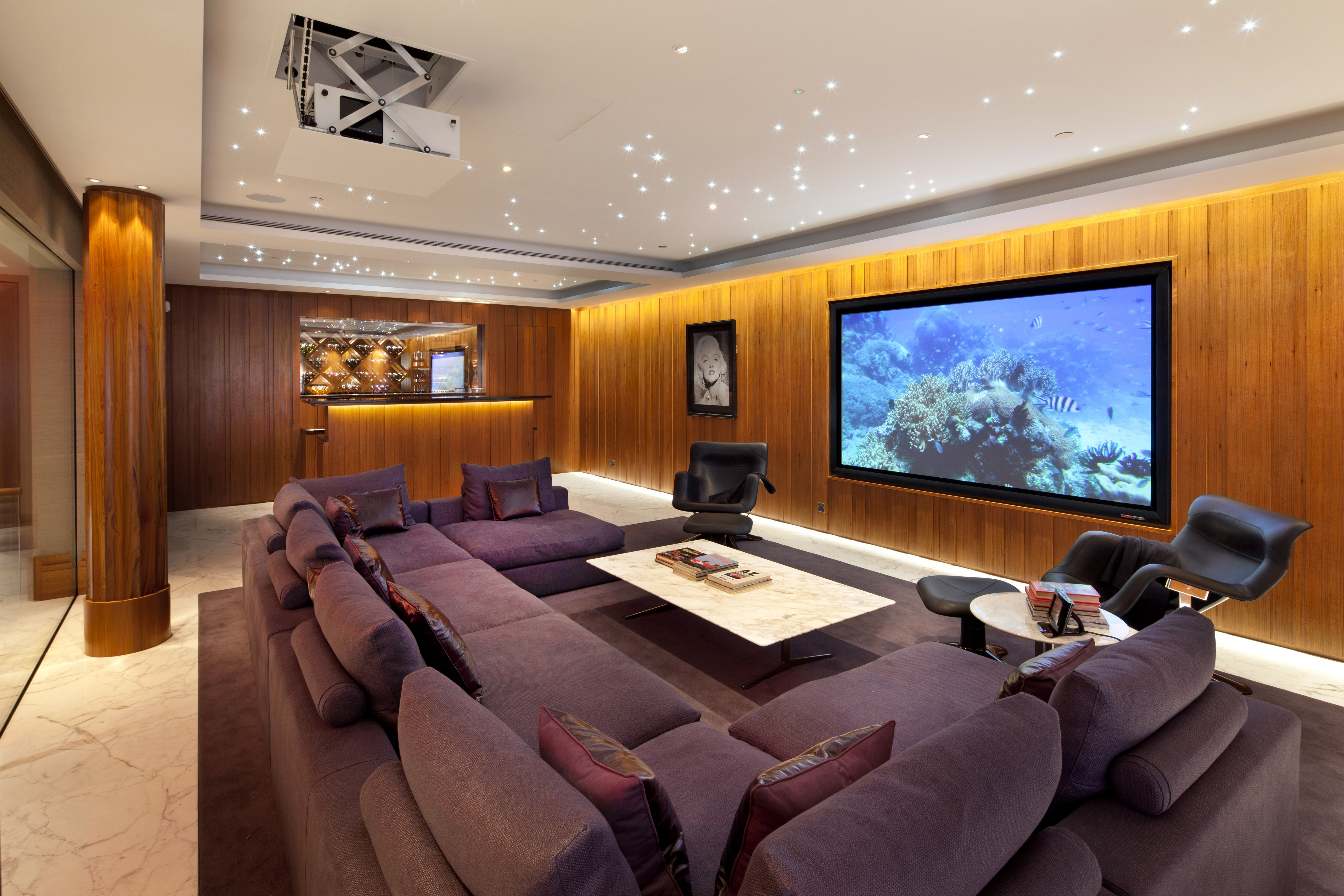 Spacious Cinema Room In A London Project By Home Technology  # Meuble Home Cinema Diy