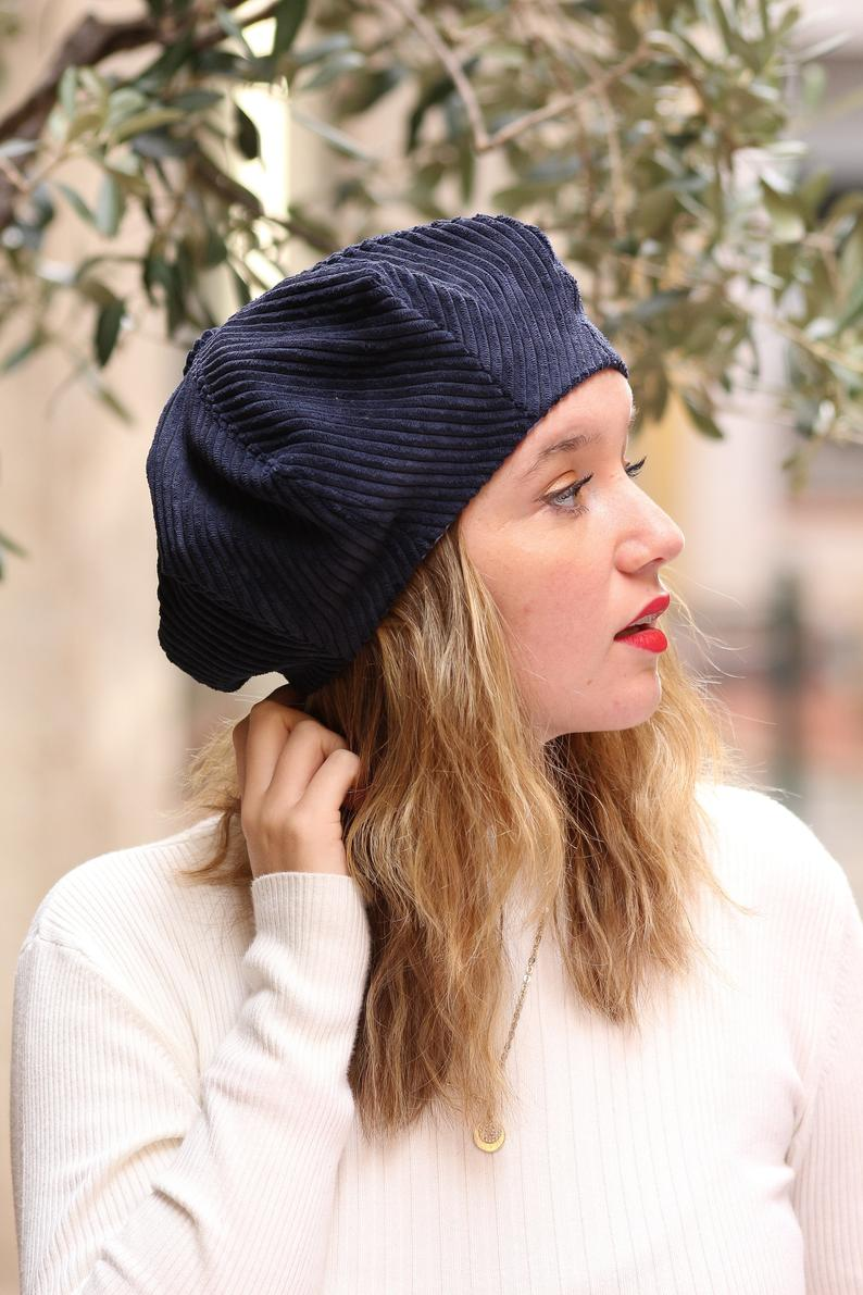 Navy Blue Corduroy Beret Hat For Women Slouchy French Beret Etsy Hats For Women Blue Beanie Hat Trendy Hat
