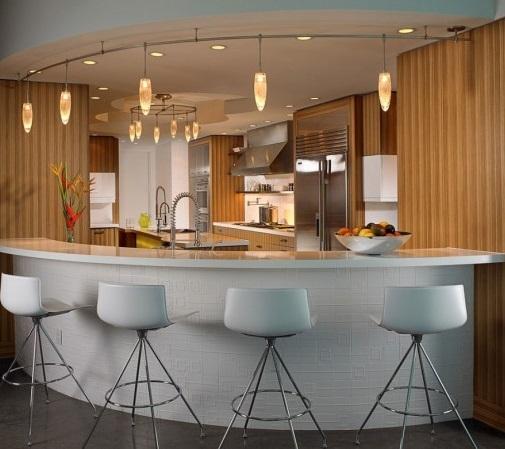 Furniture, Modern Home Bar Ideas With Pendant Lighting