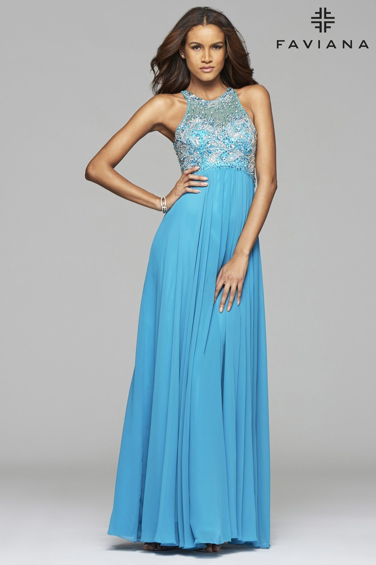 Chiffon scoop neck evening dress with jeweled top | Prom | Pinterest ...