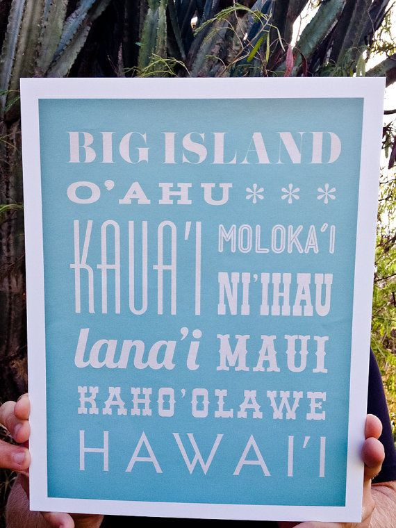 Hawaii Islands Typography Poster by ajohnstondesign on Etsy