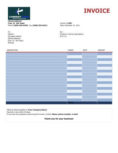 Colorful-free-invoice-hourly Kooliving Financial Documents - free service invoice