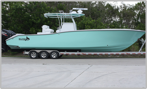 Billfish 39 Center Console powered by triple outboards