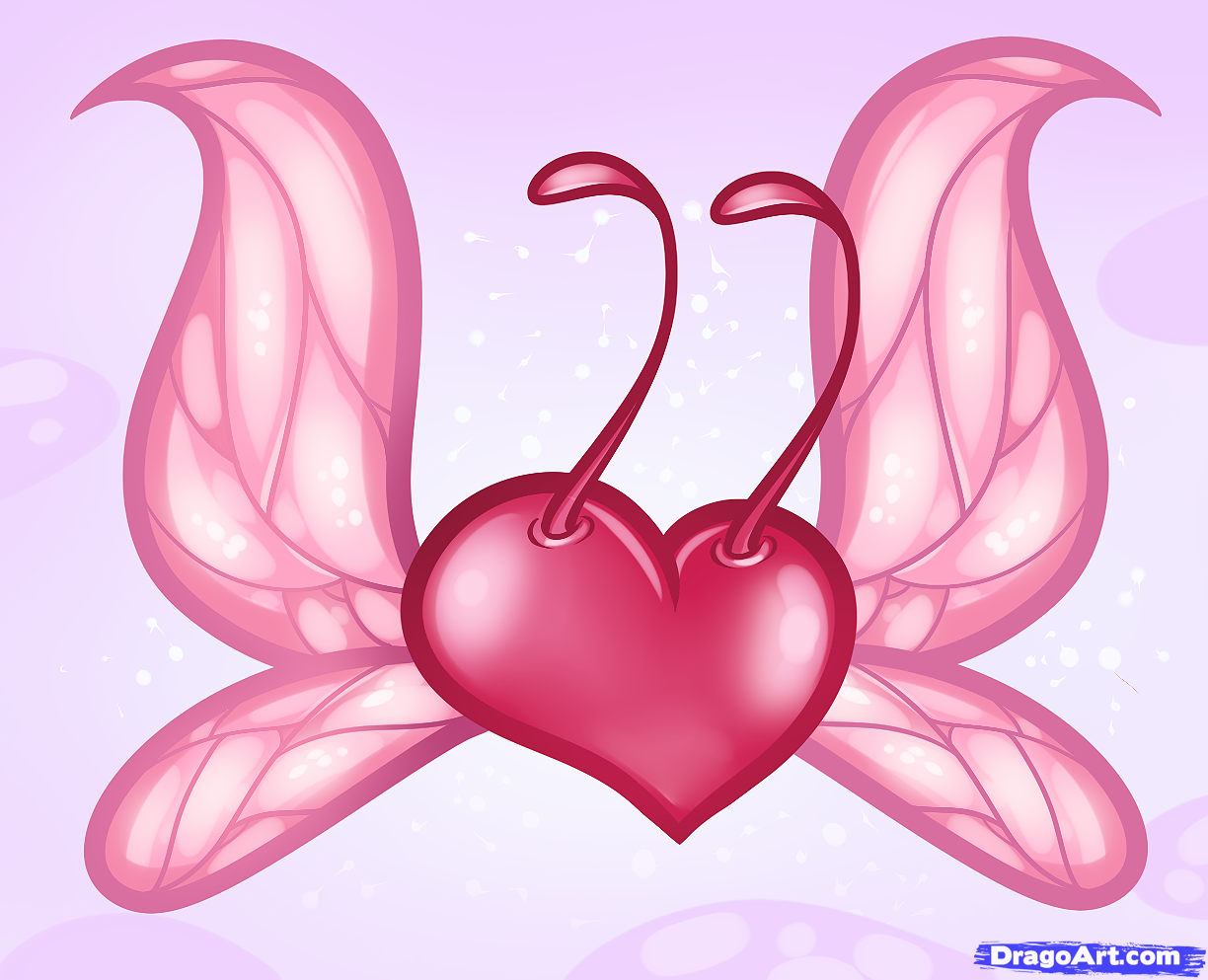 Images For > How To Draw A Heart With Wings And A Rose Step By Step
