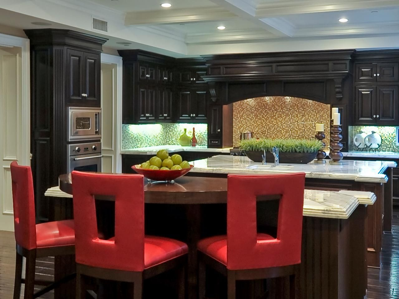 Old World Kitchen With Contemporary Red Barstools Old World Kitchens White Modern Kitchen Red Bar Stools