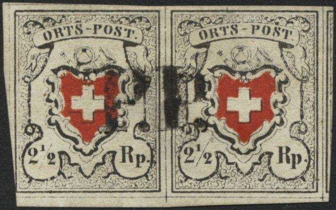 "Switzerland 1850, 2½ Rp. gray black / dark orange red ""local mail"", with framed cross, type 33 and 34 in the horizontal pair with centered ""P. P. "", lef..."