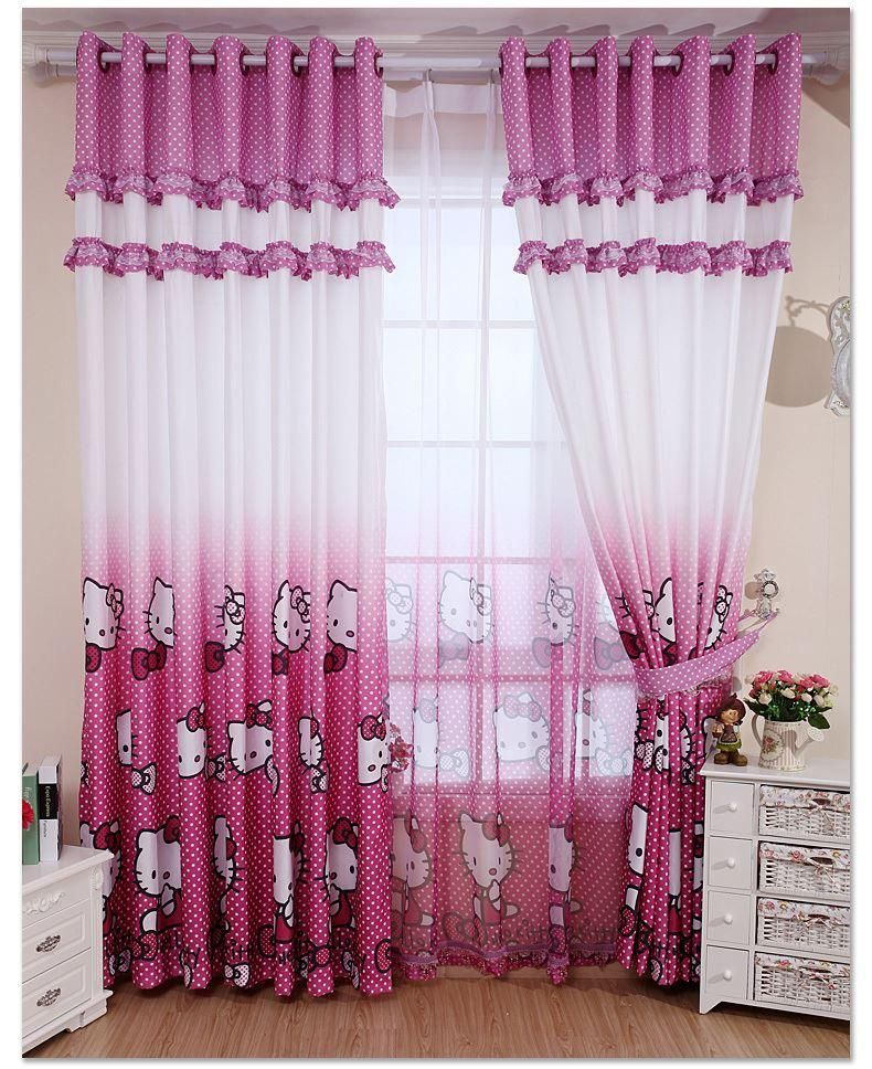 Cortinas do quarto da casa cortina decora o rosa ol - Decoration hello kitty chambre bebe ...