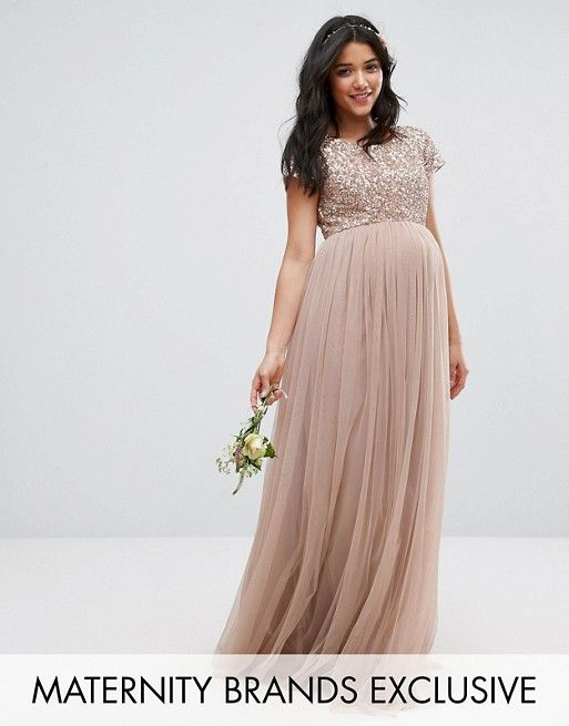 Maya Maternity Maxi Dress With Delicate Sequin And Tulle Skirt In