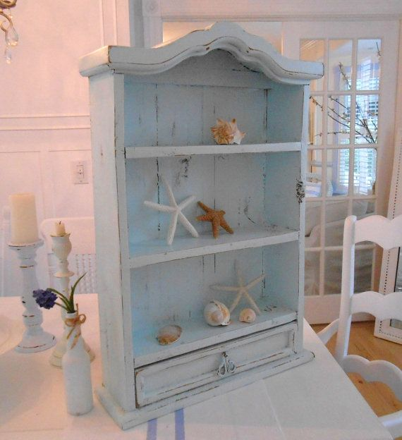 Attirant Shelf Cabinet Wall Bathroom Cabinet Shabby Chic Painted Beach Cottage