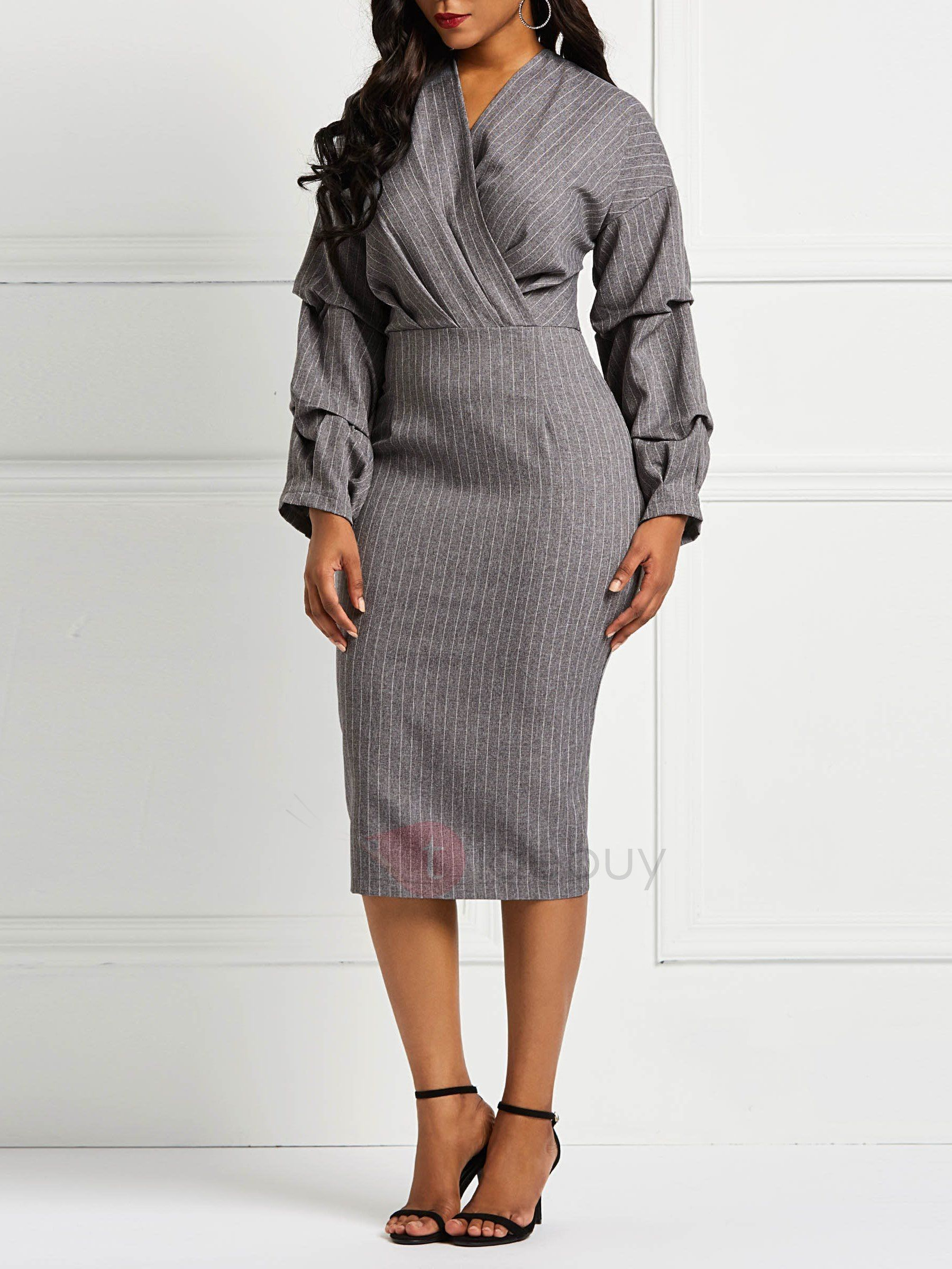 5c0cedca57 Long Sleeve V-Neck Pencil Pullover Women s Bodycon Dress Bodycon Dress  casual classy