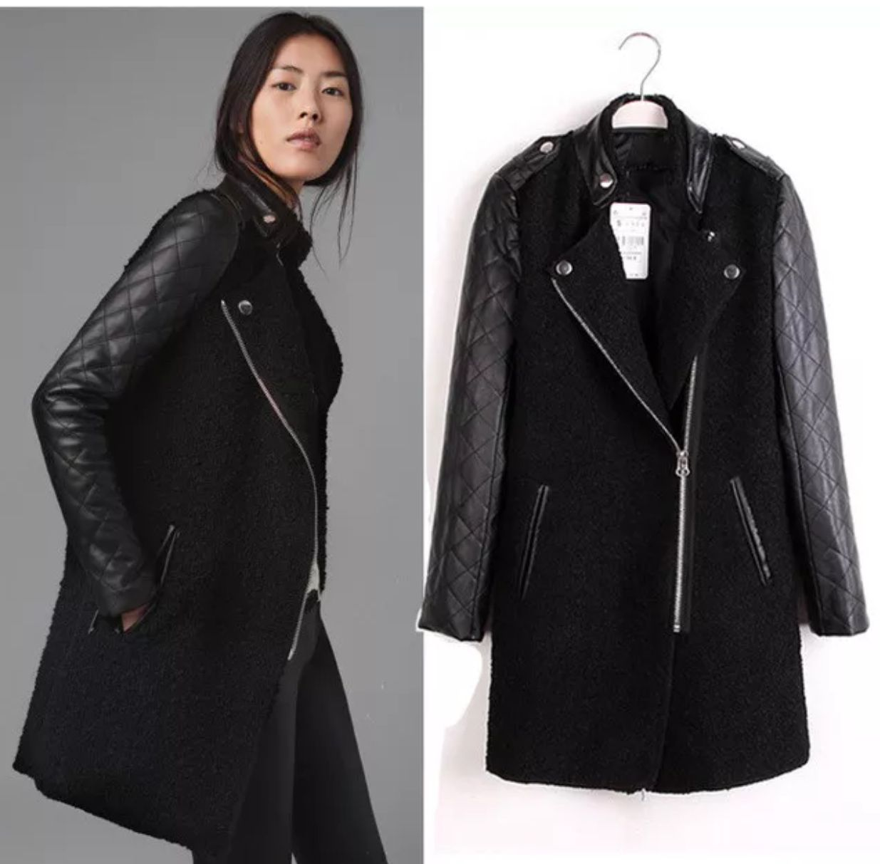 Zara wool/leather coat Fleece jacket womens, Leather