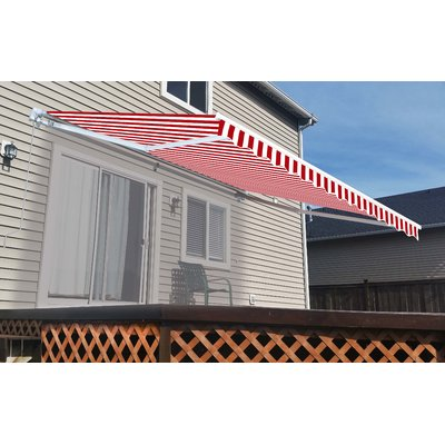 Aleko Retractable Fabric Awning Replacement Size 0 3 H X 192 1 W X 116 1 D Color Red White Patio Fabric Awning Patio Flooring