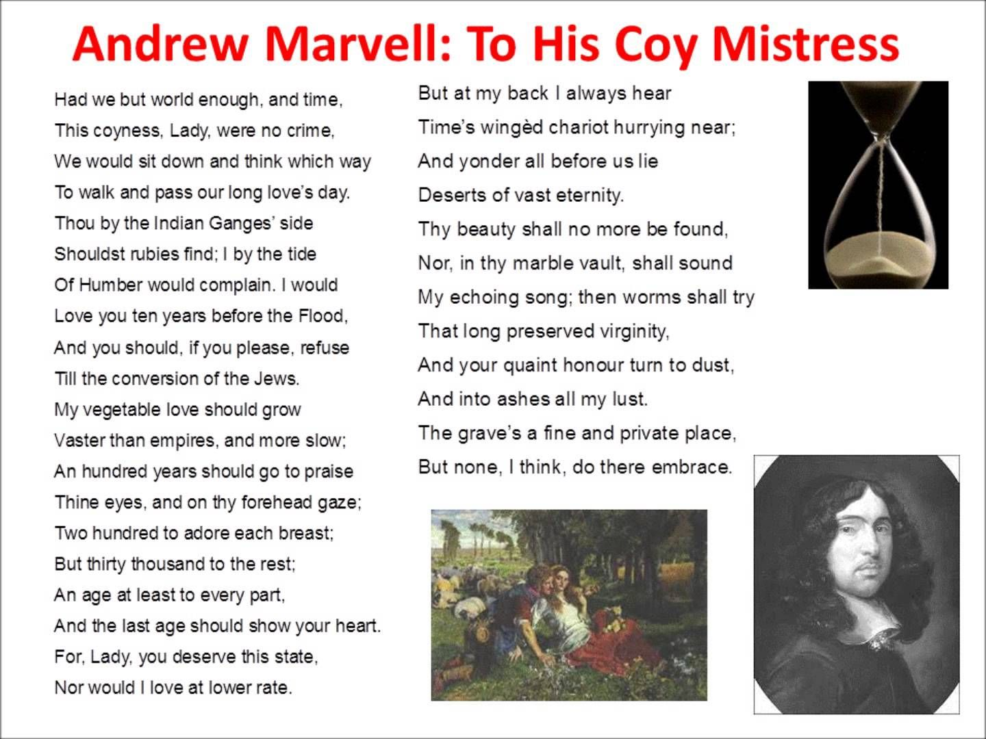 to his coy mistress by andrew marvell to his coy mistress  to his coy mistress by andrew marvell