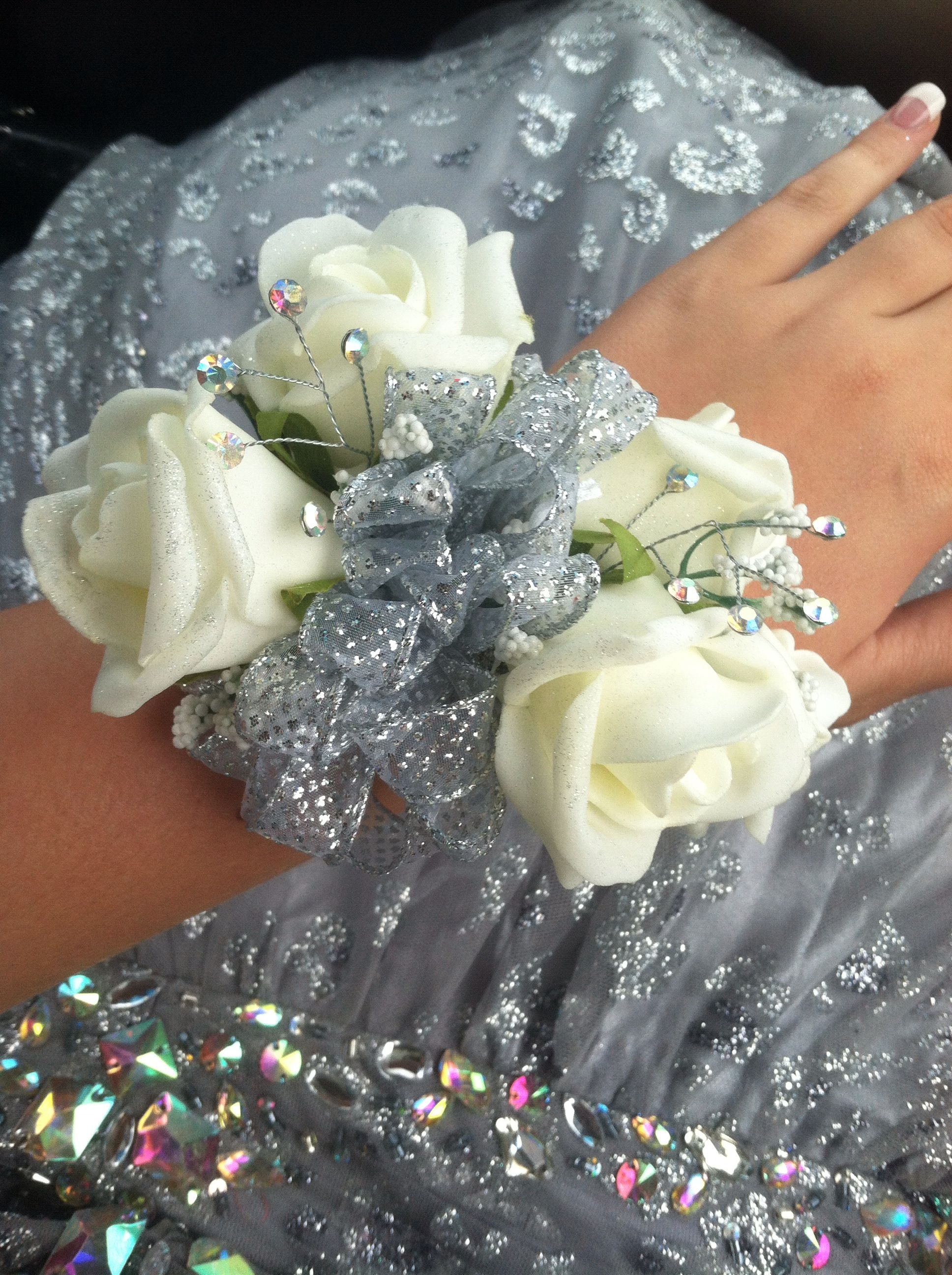 White Rose on Silver  Wrist Corsage