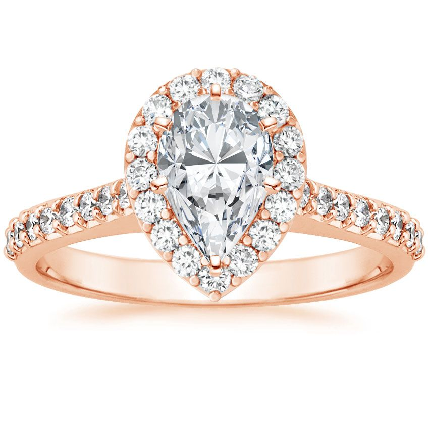 14K+Rose+Gold+Fancy+Halo+Diamond+Ring+with+Side+Stones