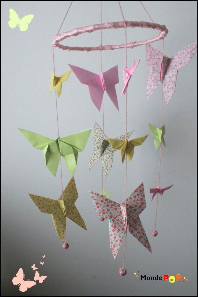 mobile papillon origami mobile baby diy pinterest. Black Bedroom Furniture Sets. Home Design Ideas