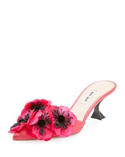 Miu Miu Floral-embellished satin mules hc0tQi0Y