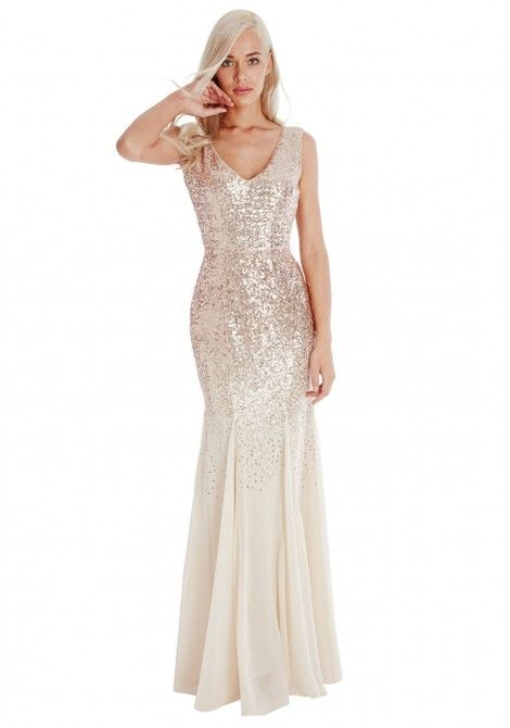 221e3575c4da Goddiva Sequin and Chiffon Fishtail Maxi Dress in Champagne in 2019 ...