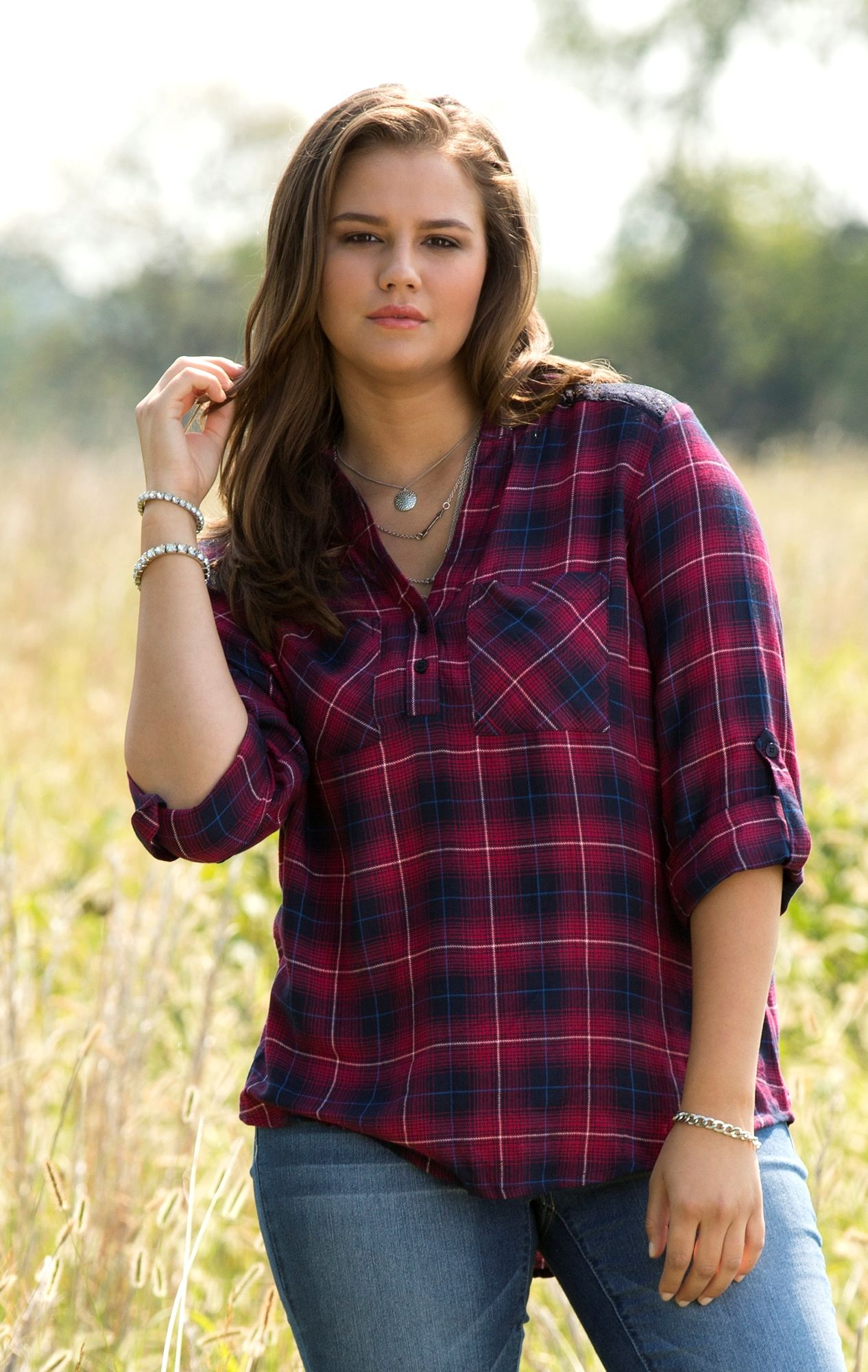 Bought this shirt today love it plus size flannel top for Girl in flannel shirt