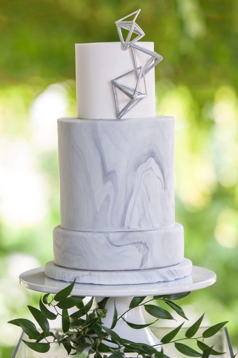 A Modern Twist on a Winter Wedding   Wedding cake marble ...