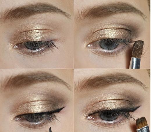 maquillaje de ojos muchas maquillaje para ojos azules sombra de ojos de oro sombras de ojos delineador de ojos negro tutoriales de maquillaje de ojos