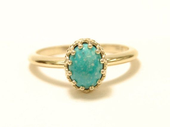10k yellow gold 8x6mm genuine cabochon turquoise by SJJewelers