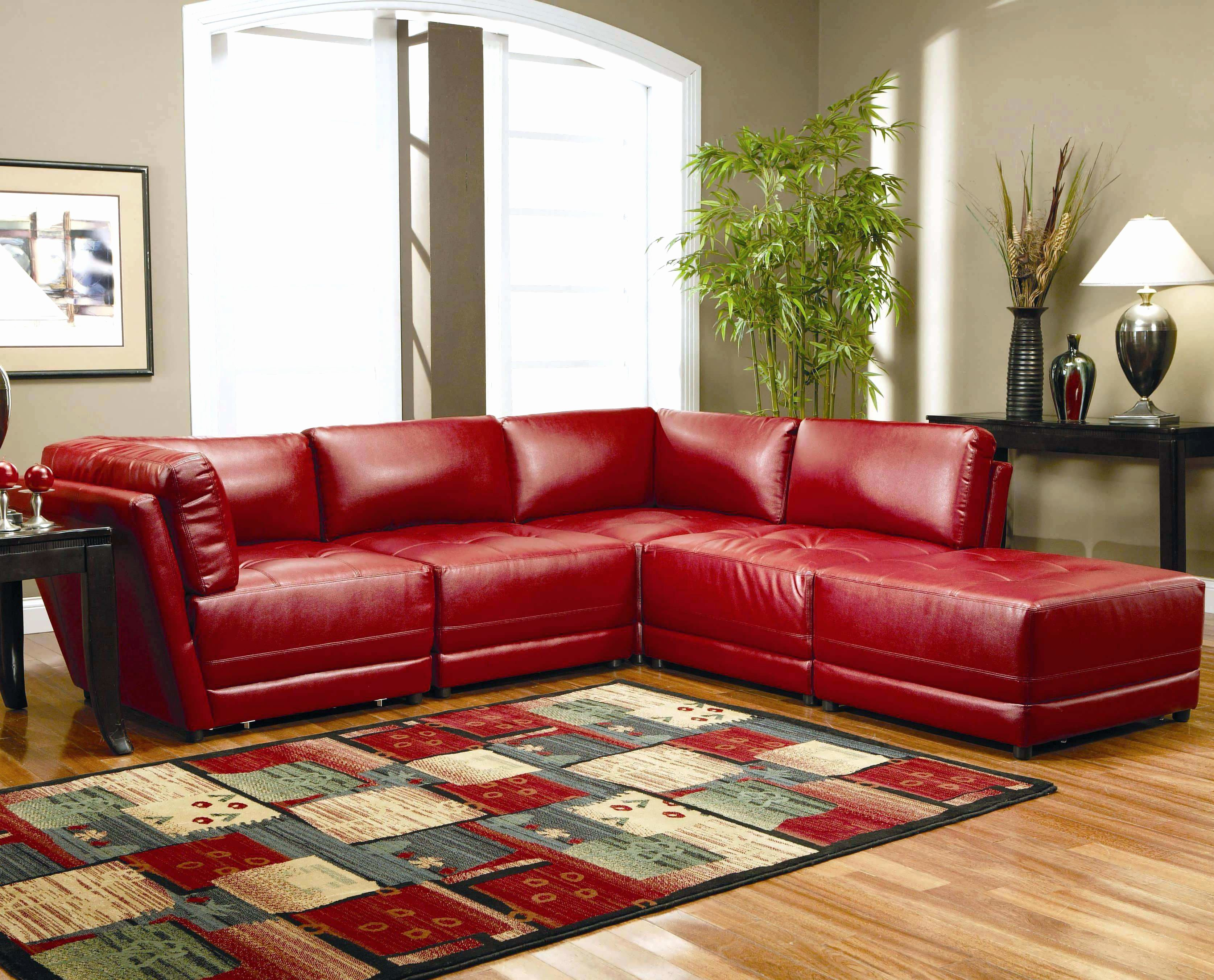 Awesome Red Microfiber Sectional Sofa With Chaise Elegant