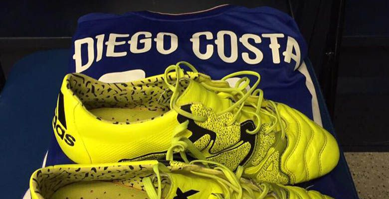 buy popular 85d0e 2d10e A unique closer look at Diego Costa s Adidas X 15.1 Leather Boots featuring  an Adizero insole, but no major modifications.