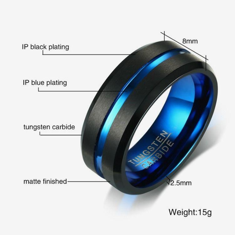 8mm Tungsten Carbide Men Ring Wedding Band Interface Black Matt