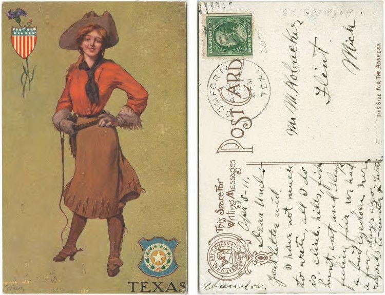 Cowgirl postcard, 1906