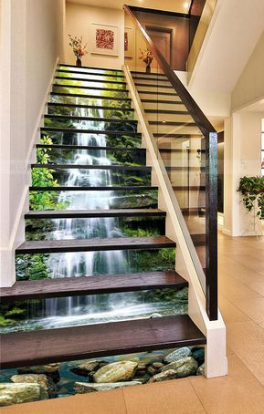 3d Waterfall Stone Forest View 65 Staircase Stairway Stairs Risers Stickers Mural Photo Mural