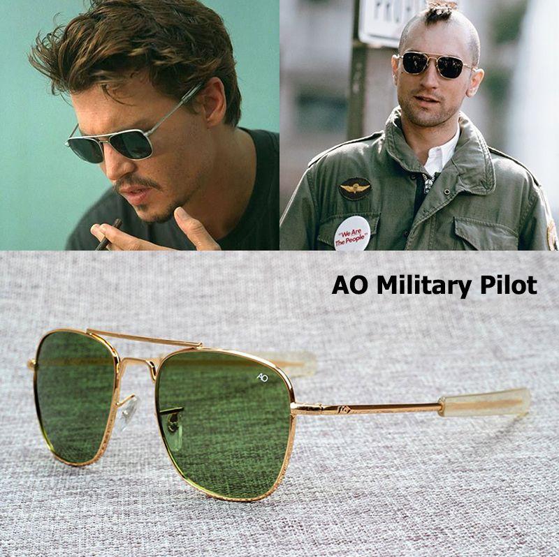 d1428ef350 2016 New Fashion Army MILITARY AO Pilot 54mm Sunglasses Brand American  Optical Glass Lens Sun Glasses Oculos De Sol Masculino
