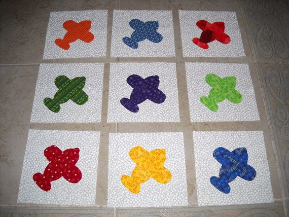 Set Of 9 Bright Airplane Quilt Blocks By Marsyesquiltshop