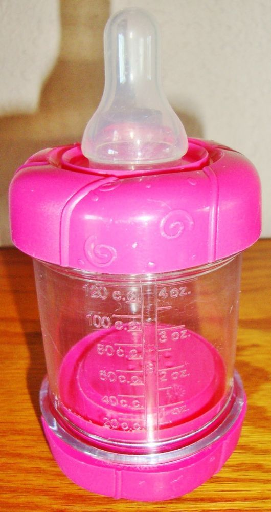 Sassy Baby food Nursers Infant Feeder 4 oz Cereal Feeding Bottle Pink