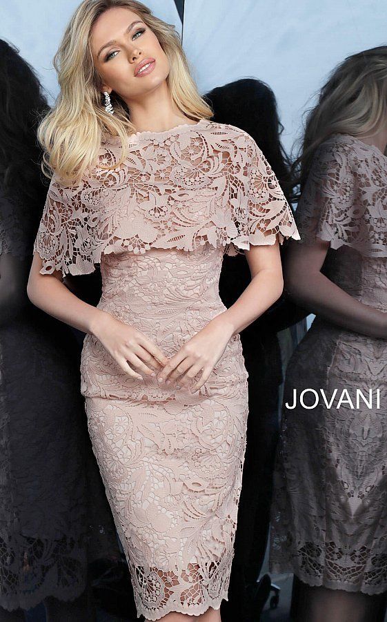 Jovani 1401 Light Pink Lace Knee Length Cocktail Dress In 2020 Cocktail Dress Lace Knee Length Cocktail Dress Coctail Dresses