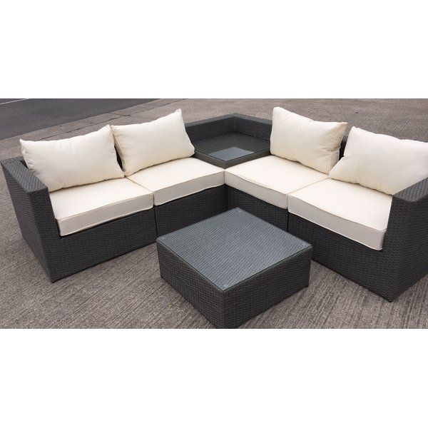 009ec6dcc40e MMT premium grey rattan L-shaped sofa corner set with built in drinks table  and separate coffee table: perfect outdoor patio garden seating furniture  set.