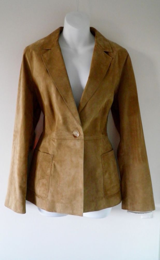 d3ea22e430e2c M S Smart Genuine Real Tan Brown Suede Fitted Blazer Jacket Coat Women  Ladies 12 13.05